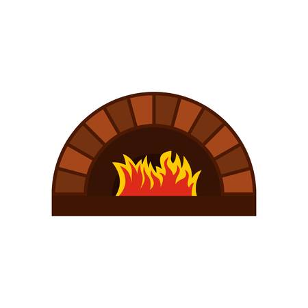 Brick pizza oven with fire icon, flat style