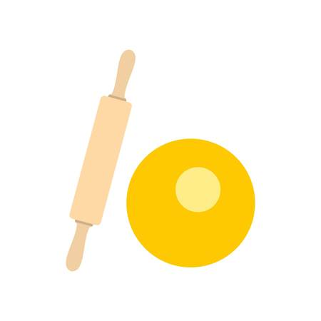Dough and rolling pin icon, flat style