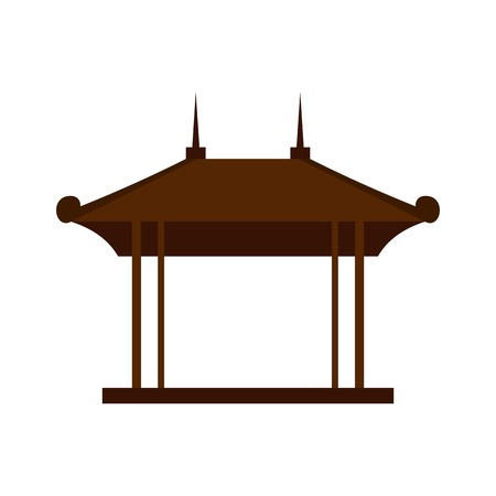 Houten paviljoen pictogram, vlakke stijl Stock Illustratie