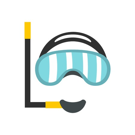 rubber tube: Diving mask icon, flat style