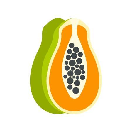 cutaneous: Sliced fresh papaya icon, flat style Illustration