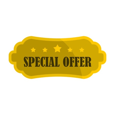 choise: Golden special offer label icon, flat style