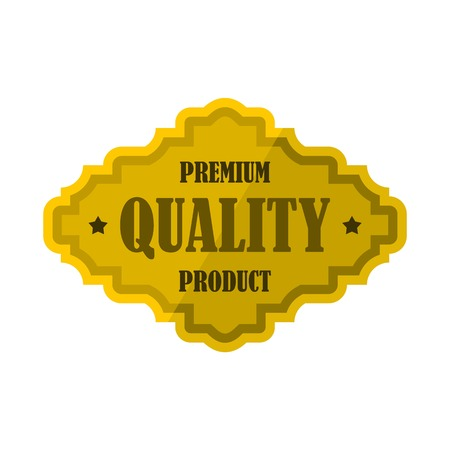 Golden premium quality product label icon