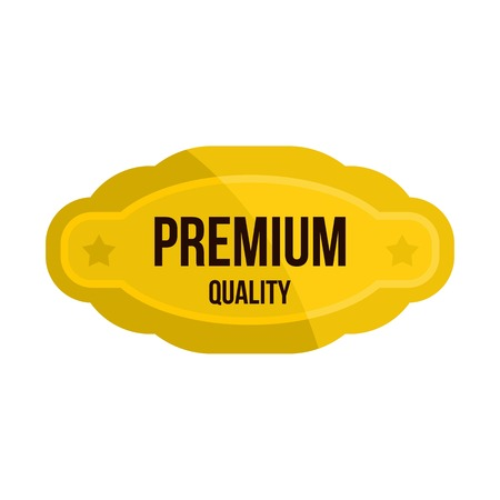 Premium quality golden label icon, flat style