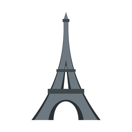 french culture: Eiffel tower icon, flat style