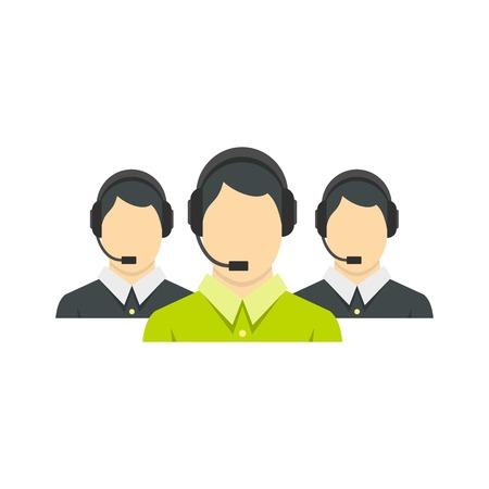 Icono de tres operadores de telefonía de apoyo, estilo plano