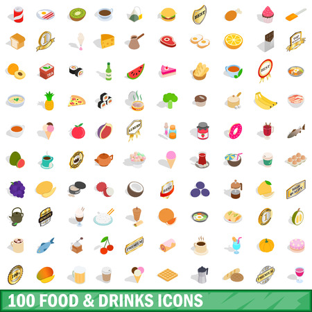 simpson: 100 food and drinks icons set, isometric 3d style