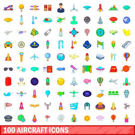 100 aircraft icons set, cartoon style