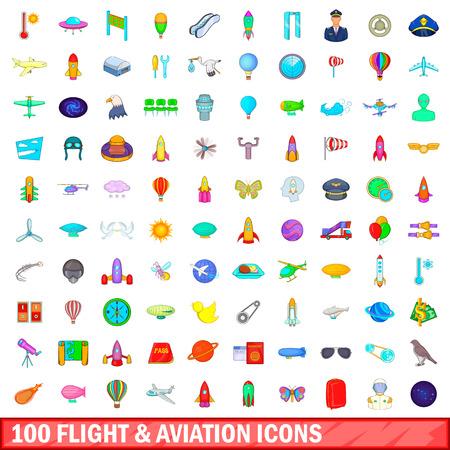 100 flight and aviation icons set, cartoon style Illustration