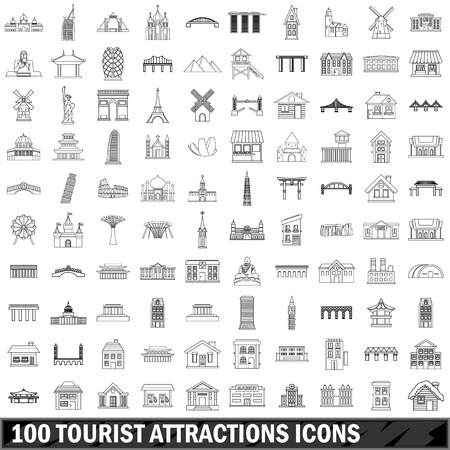 colliseum: 10 tourist attractions icons set, outline style Illustration