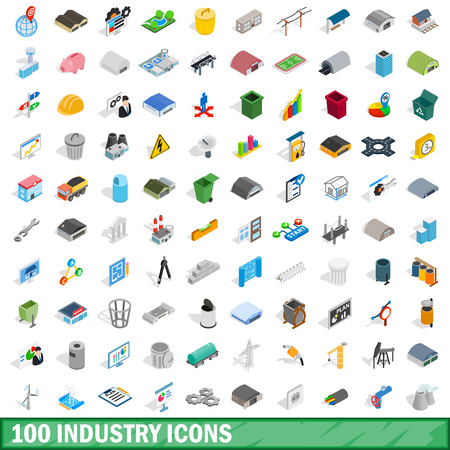 power station: 100 industry icons set, isometric 3d style