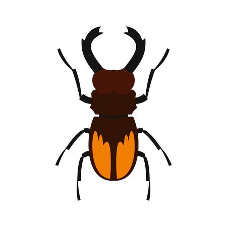 Stag beetle icon, flat style Illustration