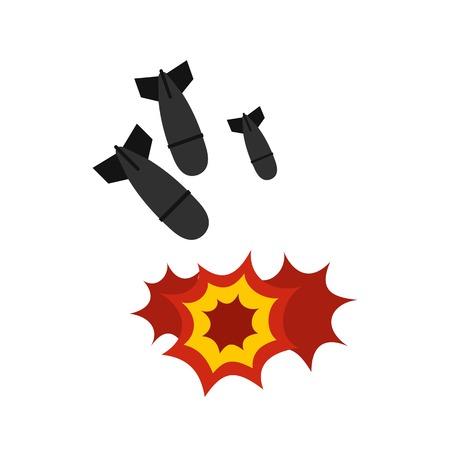 Bomb icon, flat style Illustration