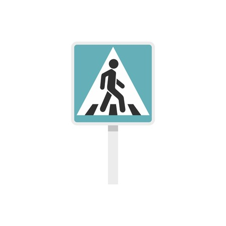 Pedestrian road sign icon, flat style Illustration