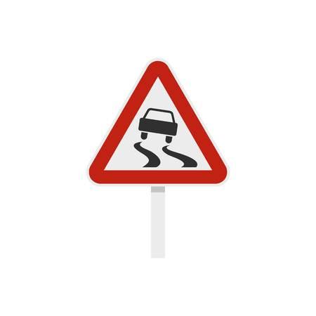 滑りやすいとき濡れている道路標識のアイコン、フラット スタイル 写真素材 - 73644181