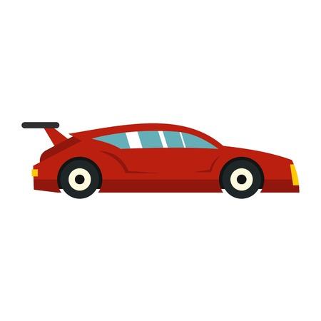 赤い車のアイコン、フラット スタイル