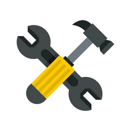 Crossed wrench and hammer icon, flat style