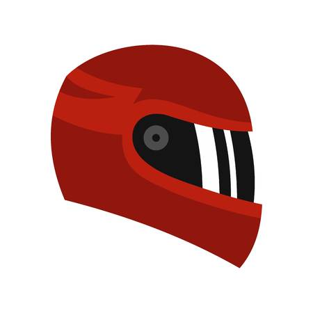 Red racing helmet icon, flat style