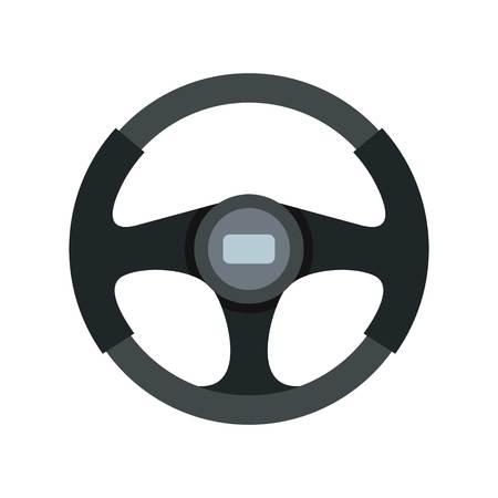 Sports car steering wheel icon, flat style