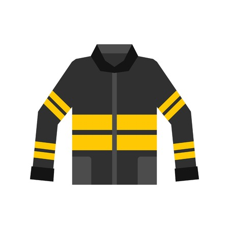 disaster preparedness: Black and yellow firefighter jacket icon