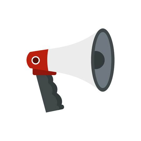 Red and white bullhorn public megaphone icon Illustration