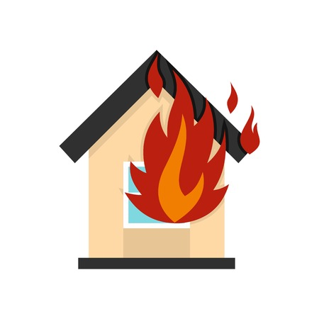 Flames from house window icon, flat style