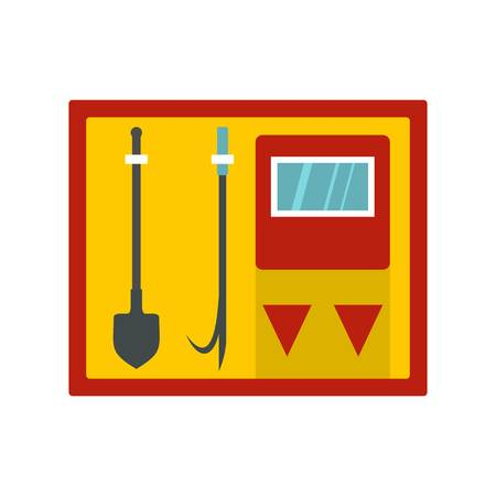 Fire shield with fire extinguishing tools icon