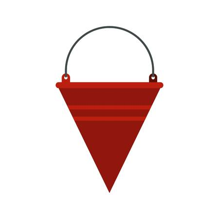 Red fire bucket icon, flat style