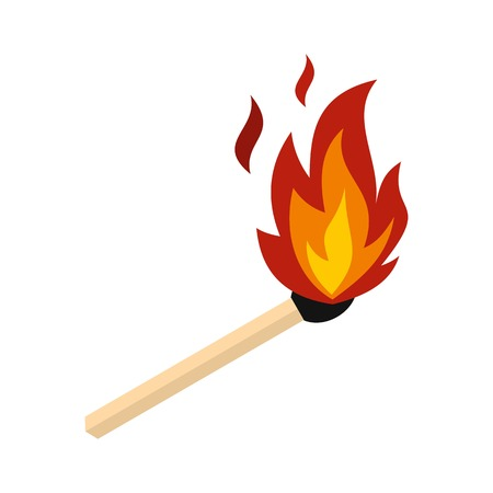 Dopasuj z ikoną ognia, płaski styl
