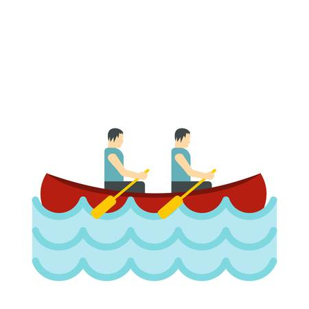 interracial: Canoe with two athletes icon, flat style Illustration