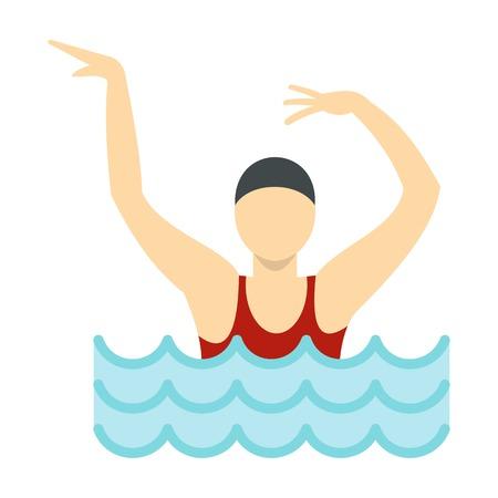 natación sincronizada: Dancing figure in a swimming pool icon, flat style Vectores