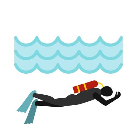 Aqualanger in diving suit icon, flat style Illustration