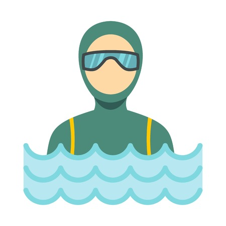 deep sea diver: Scuba diver man in diving suit icon, flat style
