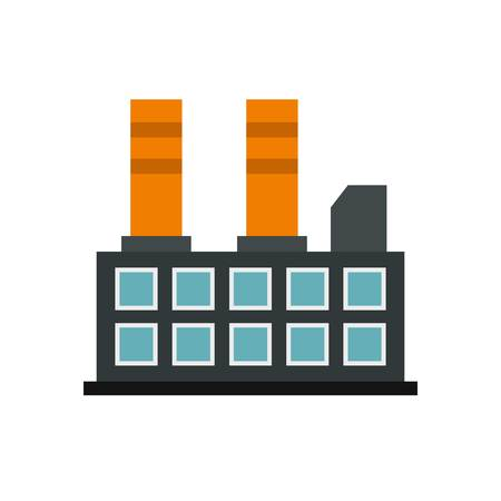 Industrial factory building icon, flat style