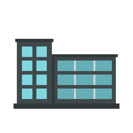 powerhouse: Industrial factory building icon, flat style