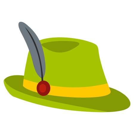 trachten: Green hat with feather icon, flat style