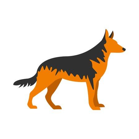 sheepdog: German Shepherd dog icon, flat style Illustration