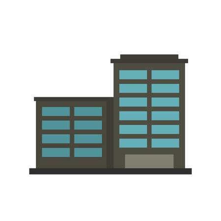 powerhouse: Manufacturing factory building icon, flat style