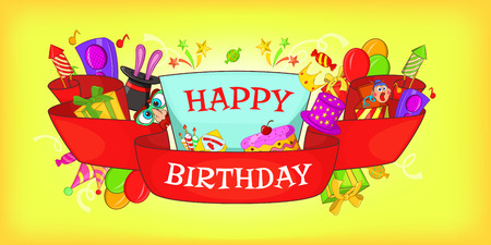 Happy birthday horizontal banner, cartoon style
