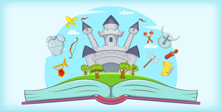 Medieval horizontal banner tale, cartoon style Illustration