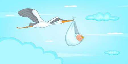 Baby born stork horizontal banner, cartoon style