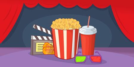 Cinema movie horizontal banner, cartoon style