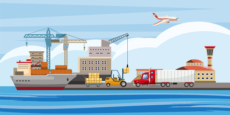 Logistic horizontal banner, cartoon style Illustration