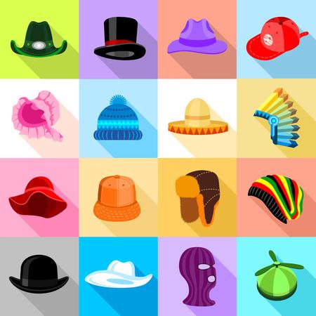 Headdress hat icons set colorful, flat style Illustration