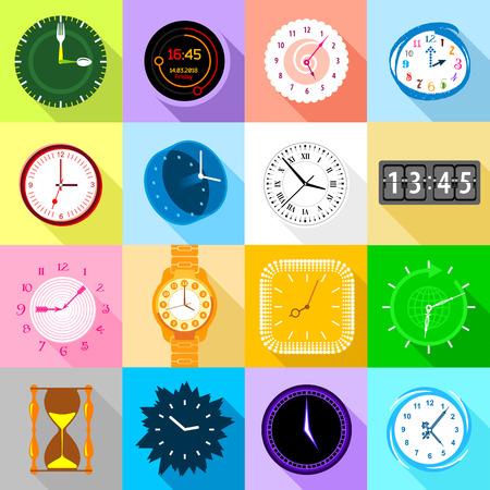 Clocks icons set colorful, flat style Ilustração