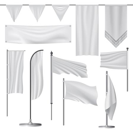 Flag mockup set, realistic style Stock Illustratie