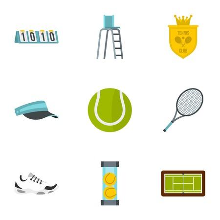 Tennis icons set, flat style Illustration