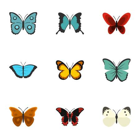 Brightly colored butterfly icons set, flat style Illustration