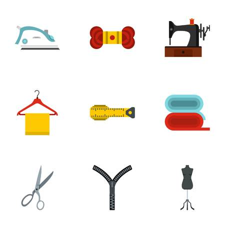 Sewing icons set, flat style