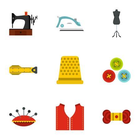 Needlework icons set, flat style